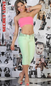 Jeans Capri Levanta Cola Color Verde Claro Secret Love 10 TALLA