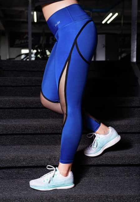 Leggings Largo Azul con Malla M TALLA