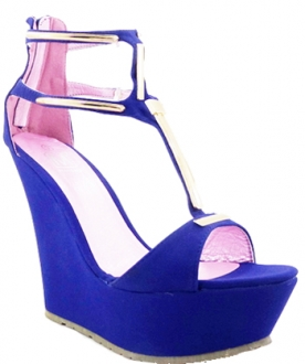 Plataforma Fashion Color Azul Con Dorado Makers 7.5 TALLA