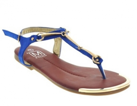 Sandalia Fashion Azul Con Dorado Makers 9 TALLA