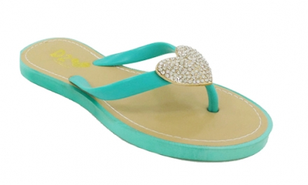 Basicas De Caucho Con Corazon Color Aqua Makers 9 TALLA