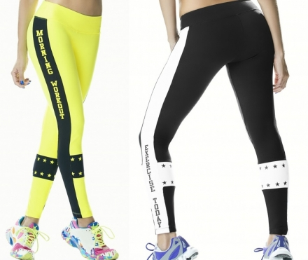 Legging Tejido Supplex Amarillo Neon Negro BABALU Unica TALLA