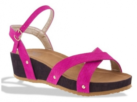 Sandalia Con Plataforma Color Fucsia Makers